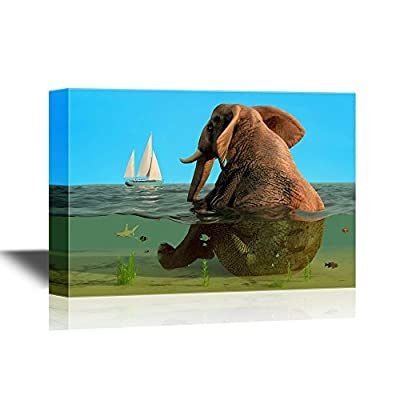 With Expert Quality, Dazzling Picture, Cartoon Style Elephant Sitting in The Sea with a Ship