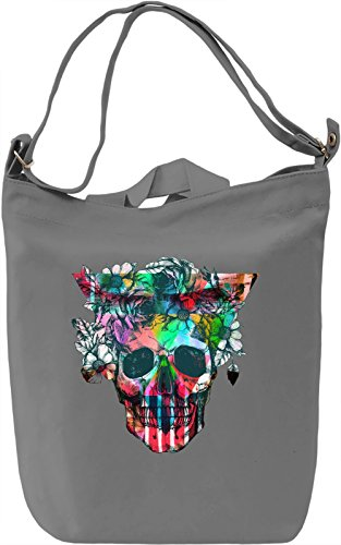 Skull With Flowers Borsa Giornaliera Canvas Canvas Day Bag| 100% Premium Cotton Canvas| DTG Printing|