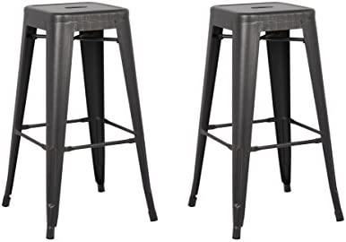 Christies Home Living Backless Modern Light Weight Industrial Contemporary Rustic Vintage Costal Metal Bar Stools Without Back and 4 Leg Design Set of 2 30 Seat