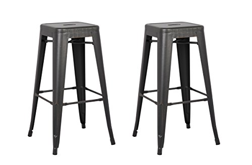 AC Pacific Backless Indoor and Outdoor Metal Chair Barstool (Black) 30-Inch Set of 2