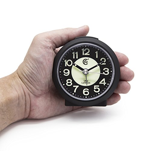 JCC Charming Luminous Small Round Handheld Size Non Ticking Quartz Bedside Desk Clock Travel Alarm Clock with Light Night, Snooze Function - Battery Operated (Matte - Black)