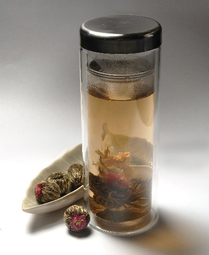 Blooming Tea Gift Box - 15 Blooming Teas and a 12 Oz Glass Tea Brewing Tumbler