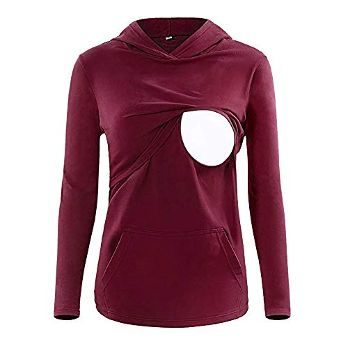 Sothread Women's Nursing Hoodie Long Sleeves Casual Top Breastfeeding Maternity Clothes (Red, XL)