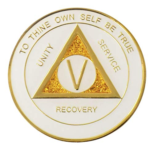 - 5 Year - White-Gold Sparkle Tri-Plate Medallion | RecoveryShop