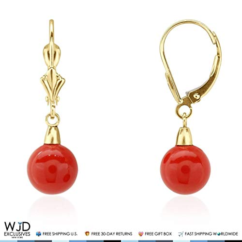 8 mm Ball Shaped Red Coral Leverback Dangle Earrings 14K Solid Yellow Gold 1