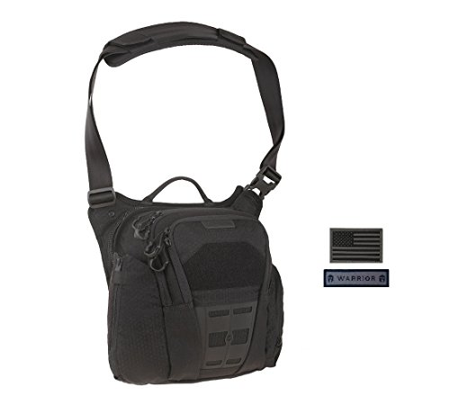 Maxpedition VELDSPAR Crossbody Shoulder Bag (BLACK) + FREE Warrior & Flag Patch