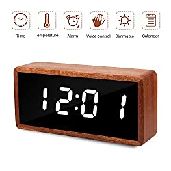MiCar Digital Alarm Clock, Wood LED Desk Alarm Clock with Large Display, USB Charging Port, Adjustable Brightness Dimmer, 12/24Hr, 3 Alarms for Kids, Bedroom, Home, Dormitory, Office (Brown Wood)