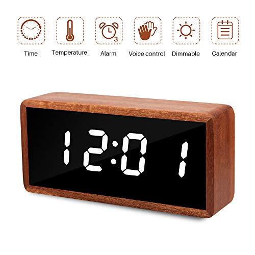 MiCar Digital Alarm Clock, Wood LED Desk Alarm Clock with Large Display, USB Charging Port, Adjustable Brightness Dimmer, 12/24Hr, 3 Alarms for Kids, Bedroom, Home, Dormitory, Office (Brown Wood) ()