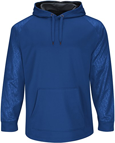 Majestic Youth Home Plate Hooded Tech Fleece Pullover Royal/Gray Medium