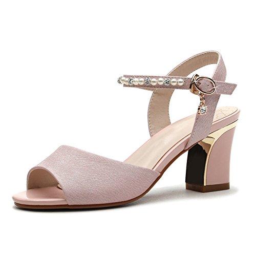 RUGAI-UE Señoras sandalias de tacón alto, sandalias de áspero, Damas de verano tacones altos. white