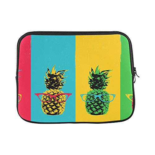 Design Custom Pineapple Fruit with Hipster Eye Glasses and Color Sleeve Soft Laptop Case Bag Pouch Skin for MacBook Air 11