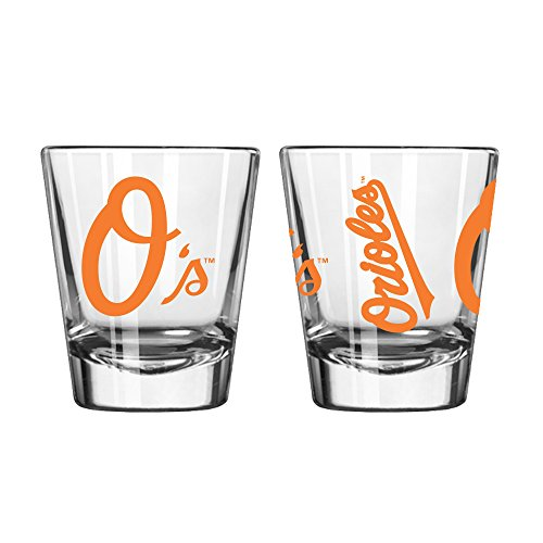 - Official Fan Shop Authentic MLB Logo 2 oz Shot Glasses 2-Pack Bundle. Show Team Pride at Home, Your Bar or at The Tailgate. Gameday Shot Glasses for a Goodnight (Baltimore Orioles)