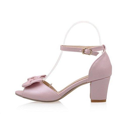 Odomolor Mujeres Hebilla Tacón Medio Pu Sólido Sandalias de vestir Rosa