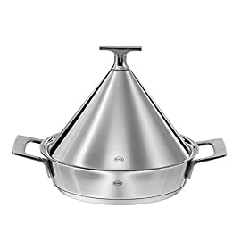 Rösle - Tagine Pot - Suitable for Electric Gas Ceramic and Induction Stoves Dishwasher Safe - Stainless Steel - 24cm 18 Stainless steel tagine pot from Rosle used for Moroccan style cooking, serving and braising meat, fish and vegetables Hygienic and odorless, ready for immediate use, preheating not required. Dishwasher safe - can be used on electric, gas, ceramic and induction stove tops.