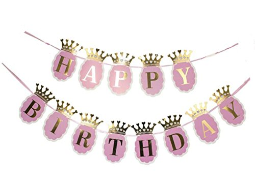 Pink and Gold Foil Crown Letters Happy Birthday Banner for Girls KIds Baby Birthday Party Banner Garland Wall Decaration Table Dacoratin Haning Banner Garland ()