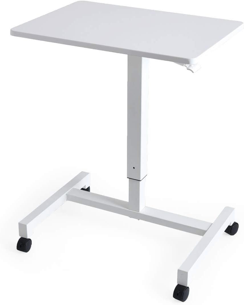 タンスのゲン,白の机,ガス圧式,昇降デスク,スタンディングデスク,キャスター付き,高さ調節できる机