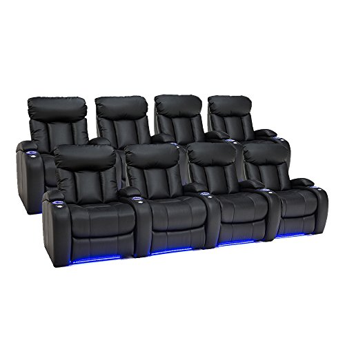 Seatcraft Orleans Leather Gel Home Theater Seating Manual Recline, Two Rows of 4, Black