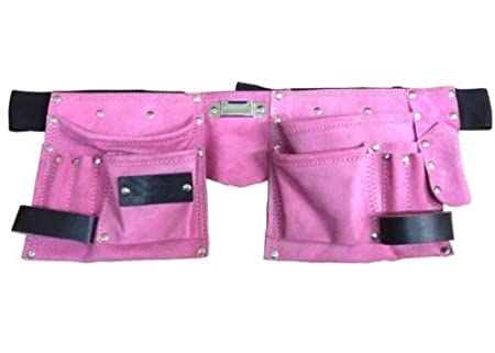 Toolzone 11 Pocket Pink Double Leather Tool Pouch Includes Tape//Hammer Holder