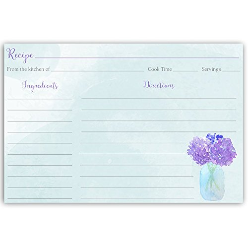 Recipe Cards, Hydrangeas, Mason Jar, Hydrangea, Purple, Blue, Indigo, Lavender, , Bridal Shower Gift, Floral, Country, Wedding, Housewarming, Double Sided with Lines, 4 x 6, 24 Printed Cards by The Invite Lady
