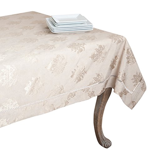 SARO LIFESTYLE DM871 Paloma Tablecloths, 70 by 180-Inch, Oblong, White by SARO LIFESTYLE
