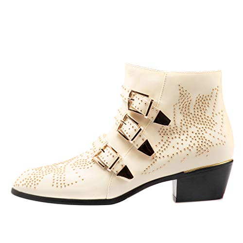 Boots for Women,Women's Leather Boot Rivets Studded Shoes Metal Buckle Low Heels Ankle Studded Booties Beige Gold 9 Size