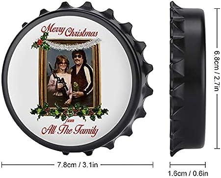 Gun Parrot Merry Christmas from All The Family - Abrebotellas con imán trasero para nevera, forma creativa de tapa de botella, fácil de abrir el esfuerzo de botella.