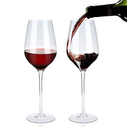 KOIOS Hand Blown Crystal Wine Glasses Set of 2, 100% Lead-Free Premium Crystal Glass for Red and White Wine, Extremely Thin Glass Wall for Best Taste, Bella Vino