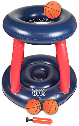Inflatable Pool Basketball Hoop - The 36 inch Tall Infinafit Mega Hoop Includes Three 6 inch Inflatable Balls w/Hand Pump | Fun Floating Pool Toy, Water Sports, Great Game for All Ages