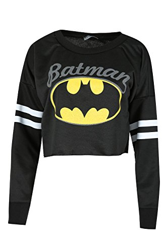 Baggy Crop (Womens Ladies Sports Stripe Long Sleeve Batman Print Baggy Crop Top Sweatshirt)
