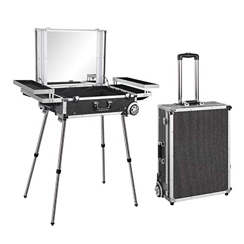 JYZ Rolling Trolley Makeup Case,Professional High Capacity Train Cosmetic Case with Full Screen LED Mirror Detachable Inner Box Stainless Steel Bracket Roller Wheels for Makeup Studio ()
