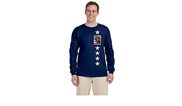 Multicolor M Carolines Treasures SC9003-LS-NAVY-M USA American Flag with Dachshund Long Sleeve Blue Unisex Tshirt Adult Medium