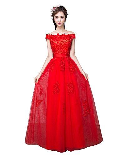 Langes Abendkleid Brautjunfernkleid Schulter Rot Elegantes Erosebridal B7Y0qtAw6