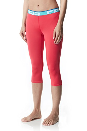 Tesla TM-WP15-CRBZ_Small Women's Compression Baselayer Capri Cool Dry Leggings Tights WP15