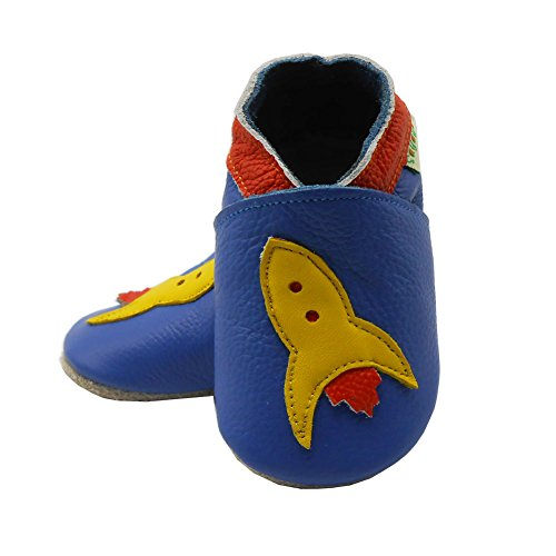 Sayoyo Suaves Zapatos De Cuero Del Bebé Zapatillas avión azul