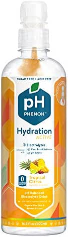 Phenoh Hydration Nutrient Infused Alkaline Water | Performance and Recovery | Plant Based | Clean Electrolytes High Potassium | pH8+ | Sugar Free, Non GMO | Keto Paleo Friendly | Tropical 12 Pack
