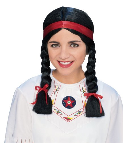 Adult Pocahontas Indian Wig (Rubie's Costume Native American Woman Wig, Black, One Size)