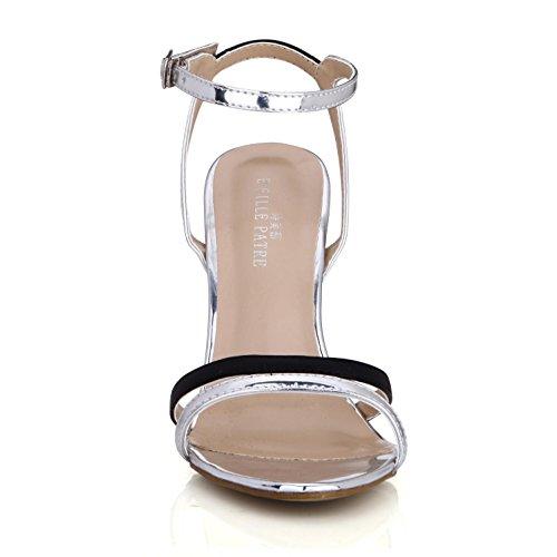 Stich Best alta 10 de verano de hebilla de 7 Espejo punta mujer CM redonda metal única Tacones goma para 4U® Sandalias suela EU35 PU color rvqBr