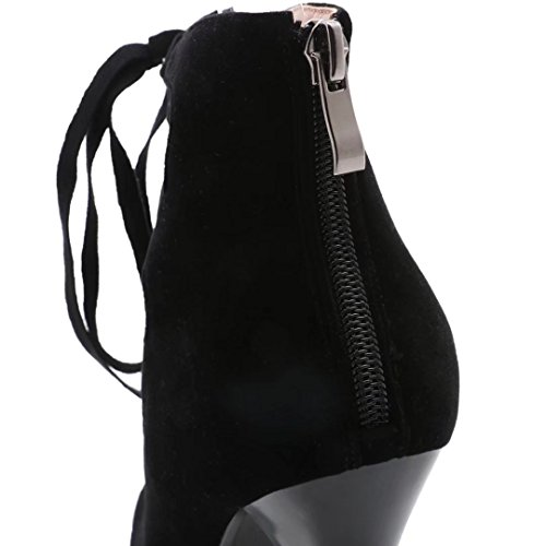 AIYOUMEI Damen Plateau knöchelriemchen Stiletto Schwarze Pumps mit Schnürsenkel High Heel Modern Herbst Schuhe Schwarz