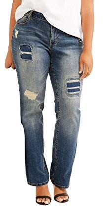 Faded Glory Womens Plus Size Destructed Bootcut Jeans (22W) Destructed Bootcut Jeans