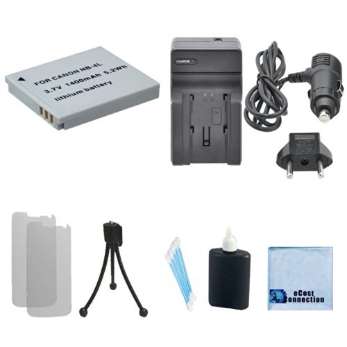 NB-4L Rechargeable Battery + Car/Home Charger For Canon PowerShot ELPH Series 100 HS, 300 HS, 310 HS, 330 HS, TX1, Digital Series 40, 50 & More.. Camera + Complete Starter Kit