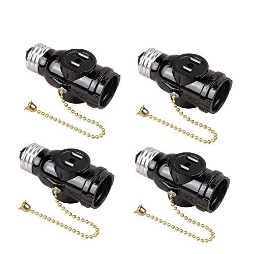 Onite E26 to 2 Outlet Socket Adapter, Light Holder Splitter, Pull Chain Switch Black, 4-Pack