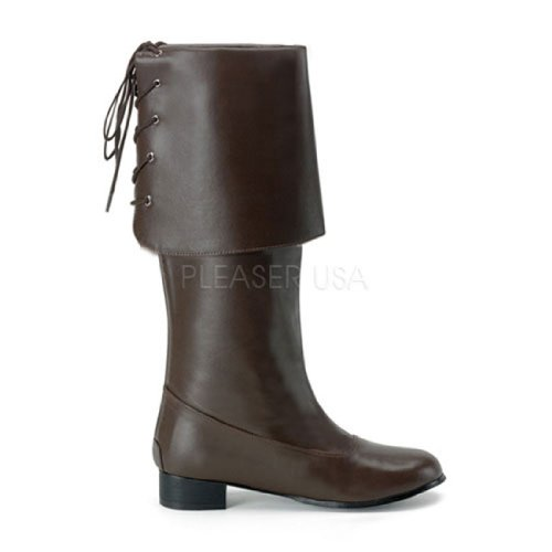 Brown Buccaneer Boots (Pir-100 (L 12-13, Brown) Buccaneer Pirate Boots with Cuff)