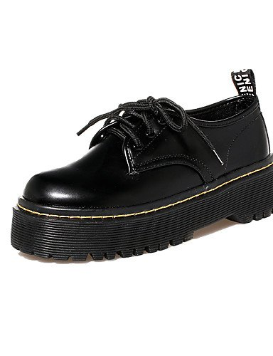 ZQ hug Zapatos de mujer - Tacón Robusto - Punta Redonda / Punta Cerrada - Oxfords - Casual - Semicuero - Negro , black-us8 / eu39 / uk6 / cn39 , black-us8 / eu39 / uk6 / cn39 black-us8 / eu39 / uk6 / cn39