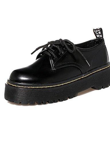 ZQ hug Zapatos de mujer - Tacón Robusto - Punta Redonda / Punta Cerrada - Oxfords - Casual - Semicuero - Negro , black-us8 / eu39 / uk6 / cn39 , black-us8 / eu39 / uk6 / cn39 black-us5.5 / eu36 / uk3.5 / cn35