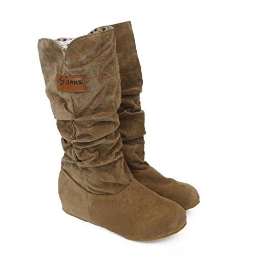Sequined Knee High Boot (Women's knee High Flat Boots Littleice Low Heel Nubuck Motorcycle Boot Autumn Winter Shoes (8, Yellow))