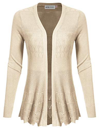 MAYSIX APPAREL Long Sleeve Lightweight Crochet Knit Sweater Open Front Cardigan For Women BEIGE S