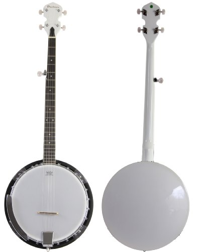 Jameson Guitars BJ005 WHT White 5 String Banjo with Closed Back & Geared 5th Tuner by Jameson Guitars