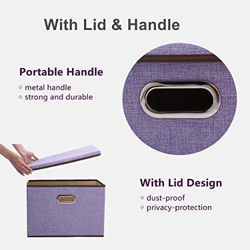 Tintin Large Storage Bin with Lid and Handles, Collapsible Linen Fabric Decorative Box Container 17.3x11.8x11.8in Organizer Basket for Home Office Car