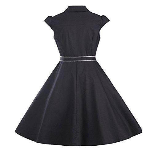 Retro Vestidos Retro A Negro Dress Mujer Line Rockabilly Fiesta Con Corto Mangas LINNUO Vintage Cortas 65qzP0PwS