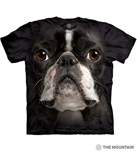 (The Mountain Boston Terrier Face Tie-Dyed Black Hi-Definition T-Shirt- Medium)